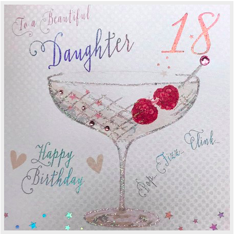 Groovy White Cotton Large Card Daughter Birthday Le Sorelle Funny Birthday Cards Online Inifodamsfinfo